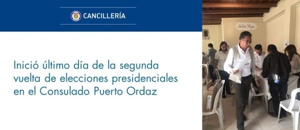 Inició último día de la segunda vuelta de elecciones presidenciales en  Puerto Ordaz